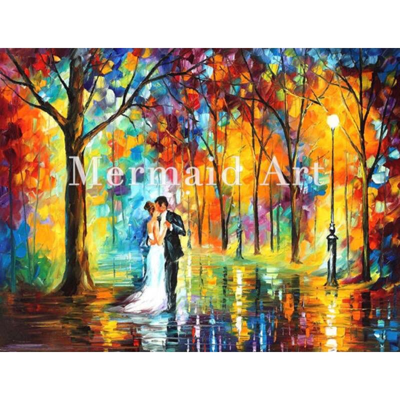 Pintado a mano Paletas cuchillo grueso arte lluvioso boda moderno de ...