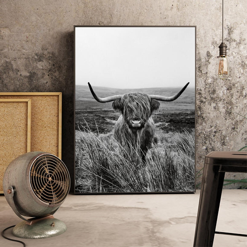 Highland Cow Canvas Art Picture Home Decor
