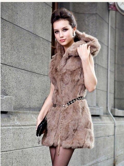 Бесплатная доставка Меховой жилет женщины кролика меховой жилет долго большие ярдов жилет мех кролика куртка с капюшоном Жилет индивидуальные