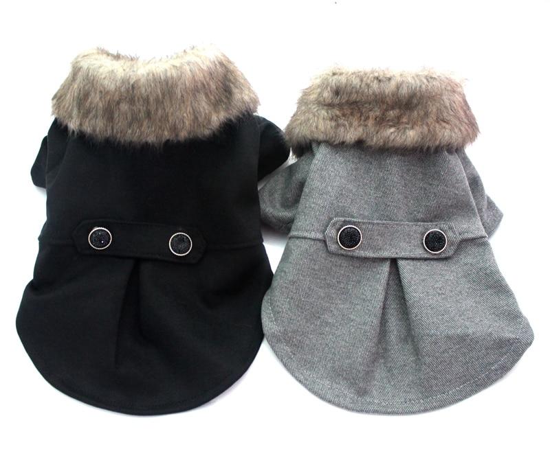 Boy Dog Cat Suit Coat Pet Puppy Jacket Fur Collar Windbreaker Clothes Apperal 5 sizes