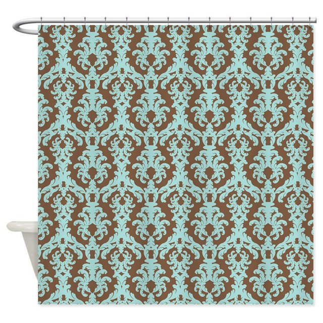 Chocolate Brown And Turquoise Damask Shower Curtai Decorative Fabric Curtain