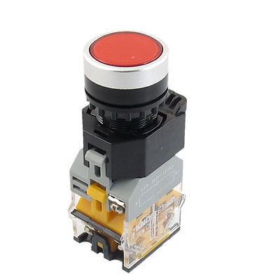 NO NC AC 220V Red LED Light Self Lock Push Button Switch 22mm 415V 10A 50pcs lot 6x6x7mm 4pin g92 tactile tact push button micro switch direct self reset dip top copper free shipping russia