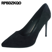 size 4 34 black pointed toe 2019 ultra slip on super suede pumps thin high heels scarpin shoes extreme stiletto office ladies