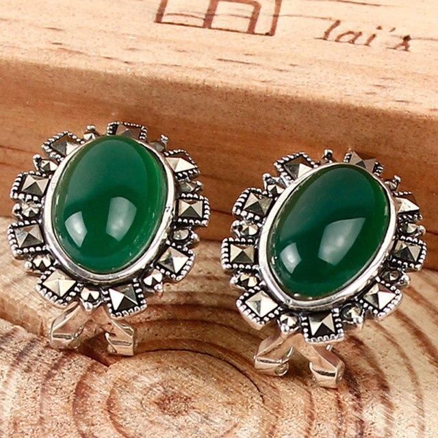 Королевской старинных 925 серебряные серьги тайский серебряные Женщины зеленый халцедон агат голубой корунд типа уха клип уха пряжкой