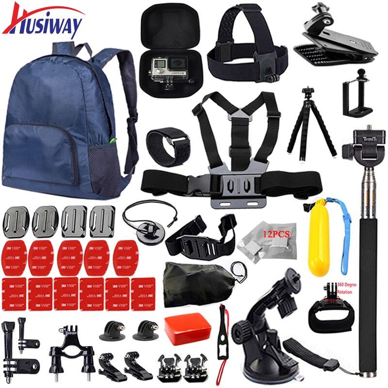 Husiway Accessoires ensemble pour tous Gopro hero 5 4 3 style kit montage pour aller pro/SJCAM/xiaomi yi caméra/eken h9 trépied 14I