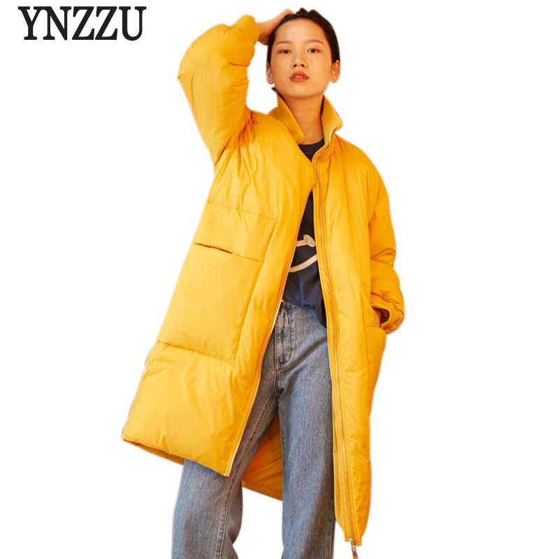 2018 New High Quality Winter Coat Women Casual Stand Collar Windproof Duck Down Jacket Yellow long Thick Women's Clothing AO624