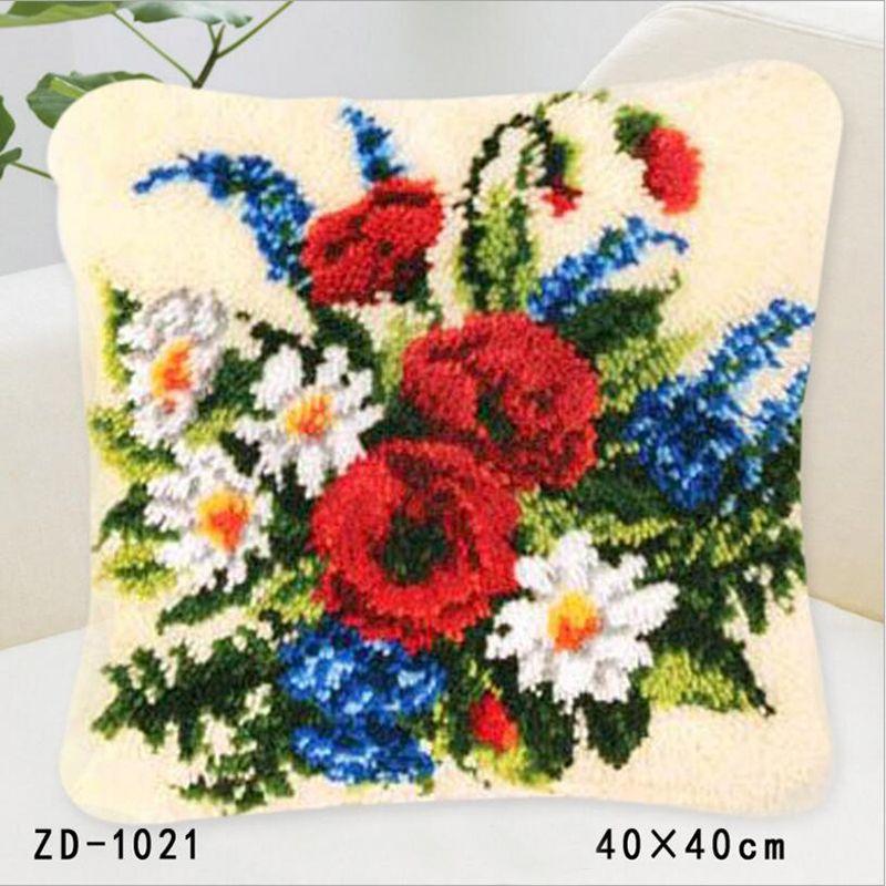 Embroidery Pillowcase Latch Hook Rug Kits Canvas Decorative Knoopkussen Christmas Pillow DIY Flower Cushion