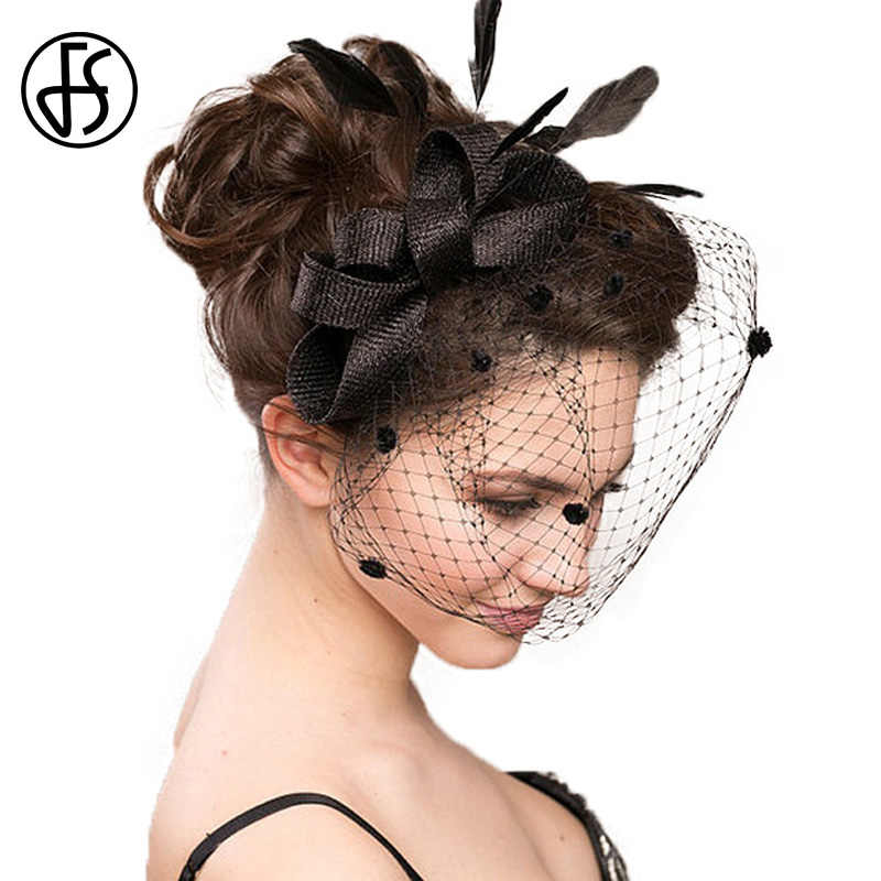 FS Bridal Wedding Hats Fascinators For Woman Black White Party Lace  Patchwork Flower Sinamay Feather With ca44c2ed8a6
