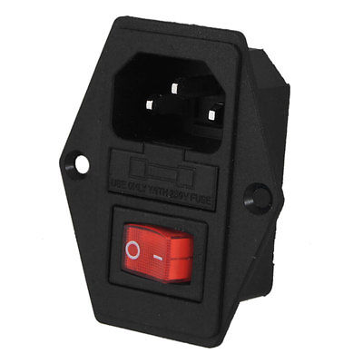 Black Red AC 250V 10A 3 Pin 6 Terminals Power Socket w Switch 660v ui 10a ith 8 terminals rotary cam universal changeover combination switch