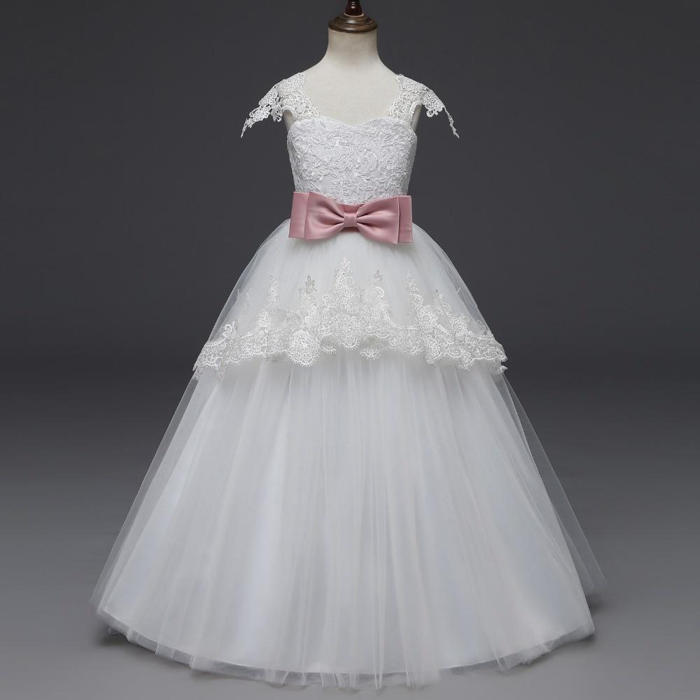 Princess Ball Gown Lace Flower Girl Dresses 2019 Big Sash Floor Length Girls Pageant Dresses First Communion Dresses