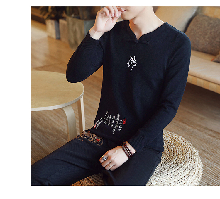 Chinese style Buddha embroidery Pull Homme Pullover Men spring autumn Casual sweater knit leisure Jersey Hombre Cotton v-neck 63