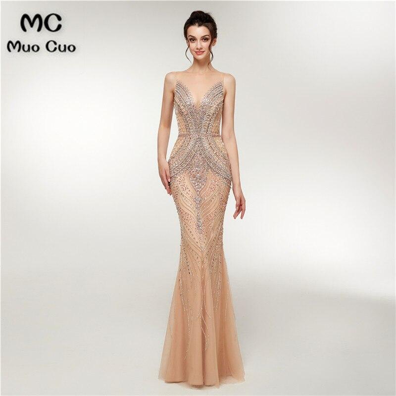2018 Luxuries Mermaid Prom dresses Long Spaghetti Straps Beaded Vestidos de fiesta dress for graduation Evening Dress for Women