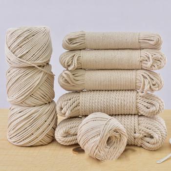 100 przędza bawełniana ekologiczna lina bawełniana dla majsterkowiczów ręcznie robione artystyczne wiszące sznurek gobelinowy na ręcznie robione buty torby zabawka dla zwierząt domowych tanie i dobre opinie 100 bawełna TWISTED 1-10 MM Przyjazne dla środowiska Wysoka wytrzymałość na rozciąganie 10-800 m X233 POWLEKANA Sznury