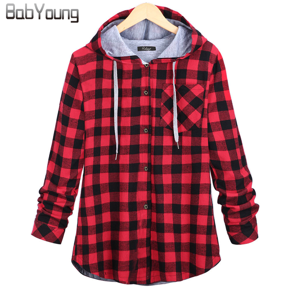 BabYoung 2017 Winter Casual Women Hoodies Femme Cotton Plaid Hooded Bts Streetwear Long Sleeve Harajuku Sweatshirt Plus Size 5XL