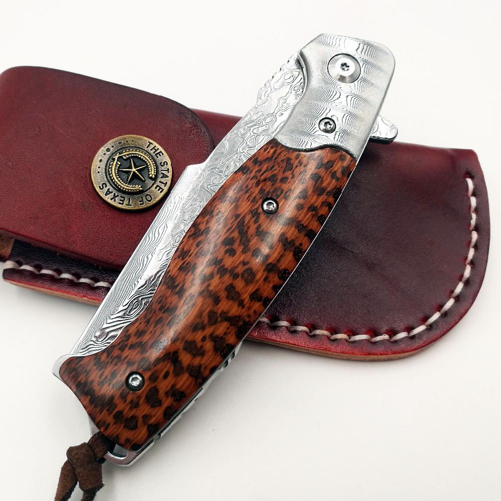 Купить с кэшбэком Cheetah Folding Knife VG10 Damascus Blade Wood Handle Outdoor Camping Combat Pocket Knives Survival Hunting Tactical EDC Tools