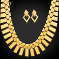 U7 Dubai Big Gold Plated Earrings Choker Necklace Set For Women Gift Geometry Fashion Ethiopian African Costume Jewelry Set S460