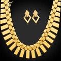 U7 dubai chapado en oro grande pendientes choker collar para regalo de las mujeres geometría moda joyería de traje africana establecer s460 de etiopía