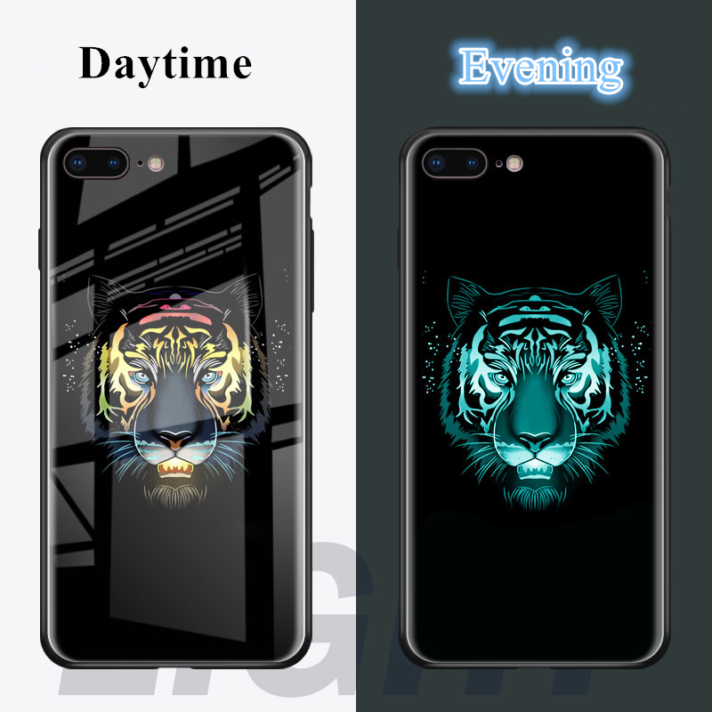 BONVAN Tempered Glass Case For iPhone X Luminous Luxury Flamingo Tiger Back Cover Silicone Bumper For iPhone 7 6S 8 6 Plus Case marvel glass iphone case