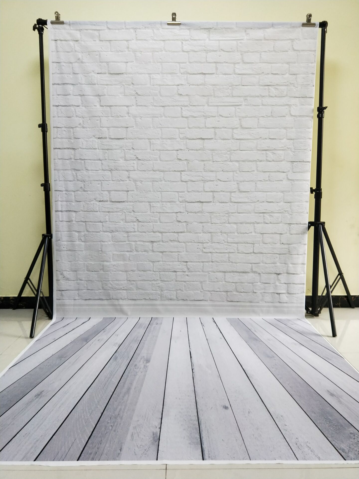 HUAYI 5x10ft Cotton Polyester White Brick Wall Photography Backdrop Washable Photo Studios Baby Props Background KP-013