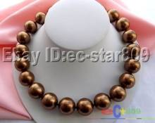 "17"" 20MM CHOCOLATE COFFEE SOUTHSEA SHELL PEARL NECLACE(China)"