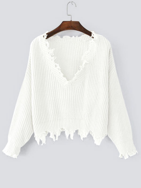 HTB1HfGSdbsTMeJjy1zcq6xAgXXaL - FREE SHIPPING Women Sweaters One Size Ripped V Neck JKP363