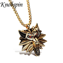 Men jewelry Gold plated Titanium Wolf King pendant necklace With AAA CZ The Witcher Figure Medallion Wolf head Pendants Necklace