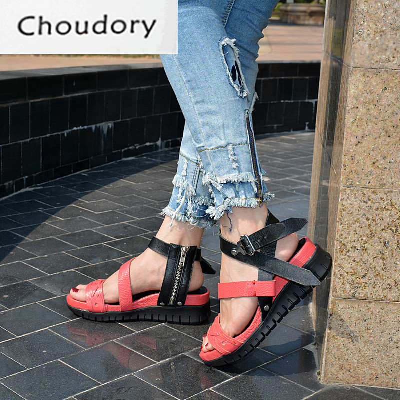 Choudory Open Toe High Heel Platform Wedges Mixed Colors Gladiator Sandals Buckle Zipper Leather Fashion Dunk Low Shoes Woman