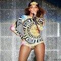 Bad Girl Monos Salón de Baile Vestuario Teatral, Beyonce Rihanna, Cadena de Leopardo de Impresión 3D de Manga Larga Mono, Mono Playsuit
