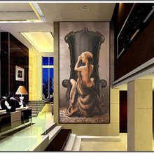 Canvas Prints Wall Art - Classical Oil Painting Print on Canvas The Nude Beauty in the Chair Poster for Living Room Home Decor(China)