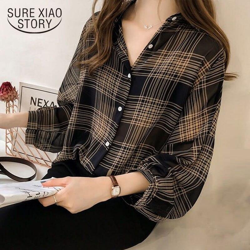 Plus Size 3XL 4XL Blouse Shirt Fashion Women Blouses 2018 Long Sleeve Shirt Women Striped Plaid OL Blouse Women Blusas 1204 40