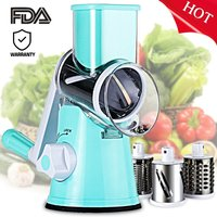 Vegetable Cheese Cutter Round Slicer Shredder Grinder with 3 Interchanging Ultra Sharp Cylinders Stainless Steel Drums