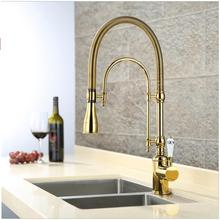 Роскошные 3 Тип розовое золото смеситель для кухни Одной ручкой холодной и горячей водопроводной воды Латунь бортике кран с керамической ручка