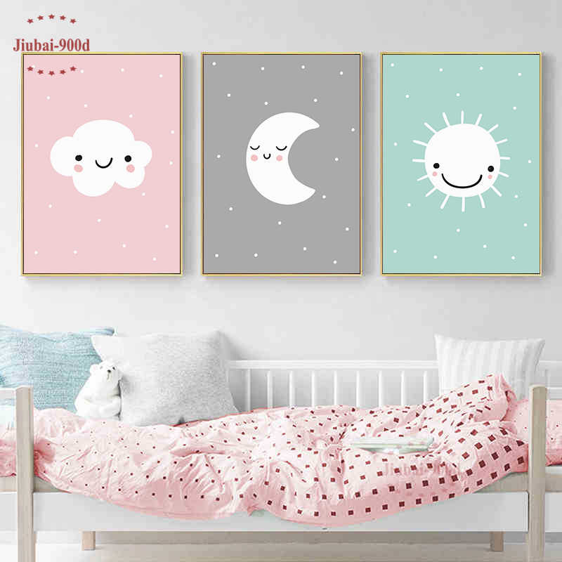 Cartoon Cloud Moon Nursery Decorative Posters and Prints Kids Decoration Canvas Painting wall pictures for Children's Room Nur05