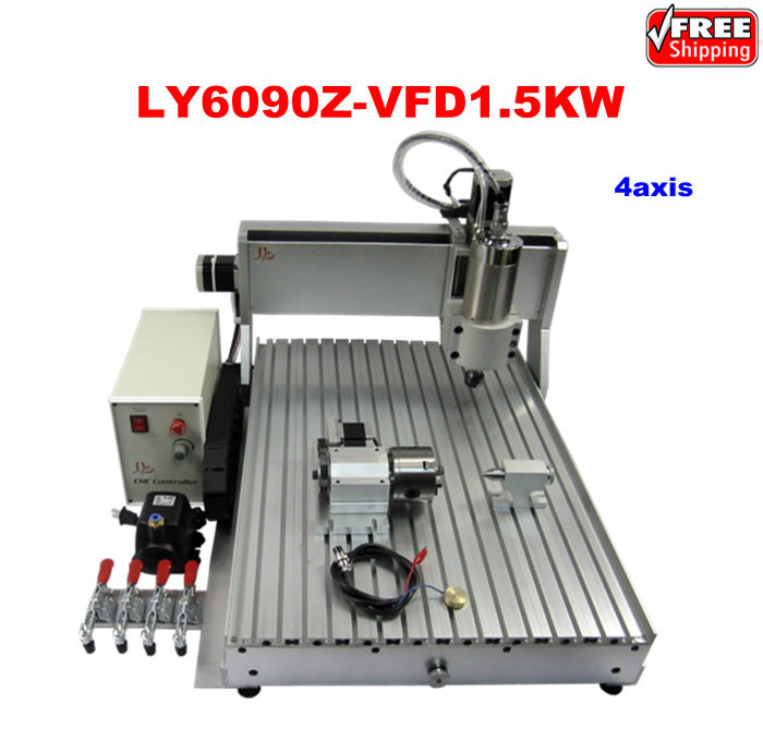 LY 6090Z-VFD1.5KW 4axis CNC carving machine already assembled with 1.5KW VFD water cooling spindle mini machine cnc with water tank cnc 6090 4 axis