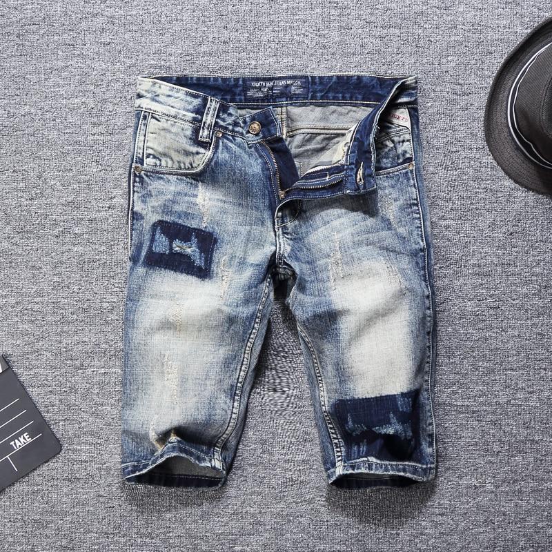 Summer Fashion Men Short Jeans Retro Wash Gray Blue Ripped Jeans Men Denim Shorts Patchwork Printed Hip Hop Jeans Shorts Hombre