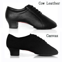 Professional Men's Black Genuine Cow Leather/Canvas Ballroom / Tango / Salsa / Latin Dance Shoes Men