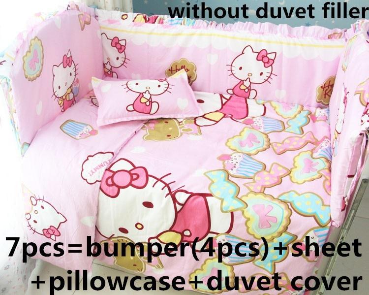Promotion! 6/7PCS Cartoon Cotton Pink Baby Bedding Set Cartoon Crib Bedding Set for Girls, 120*60/120*70cm