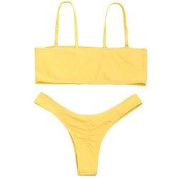 ZAFUL Bikini Scrunch HighCut stringi zestaw Bikini kobiety jest usztywniony kostium kąpielowy Spaghetti pasy stałe stroje kąpielowe lato ciąg SwimmingSuit 2