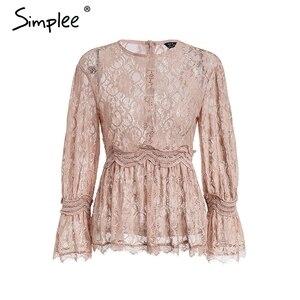 Image 5 - Simplee encaje bordado peplum blusa camisa mujer elegante volantes manga blanca blusa femenina Casual ahueca hacia fuera las tapas de verano