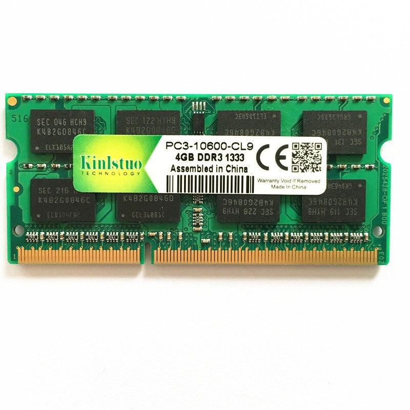 Kinlstuo original ordinateur portable mémoire Ram pour DDR3 4G 1333 4 GB 2Rx8 1RX8 4 GB DDR3 1333 MHz PC3-10600S livraison gratuite