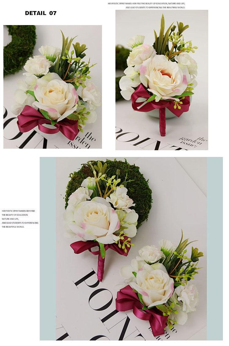 bridesmaid bracelet wedding corsage flowers roses artificial  (17)