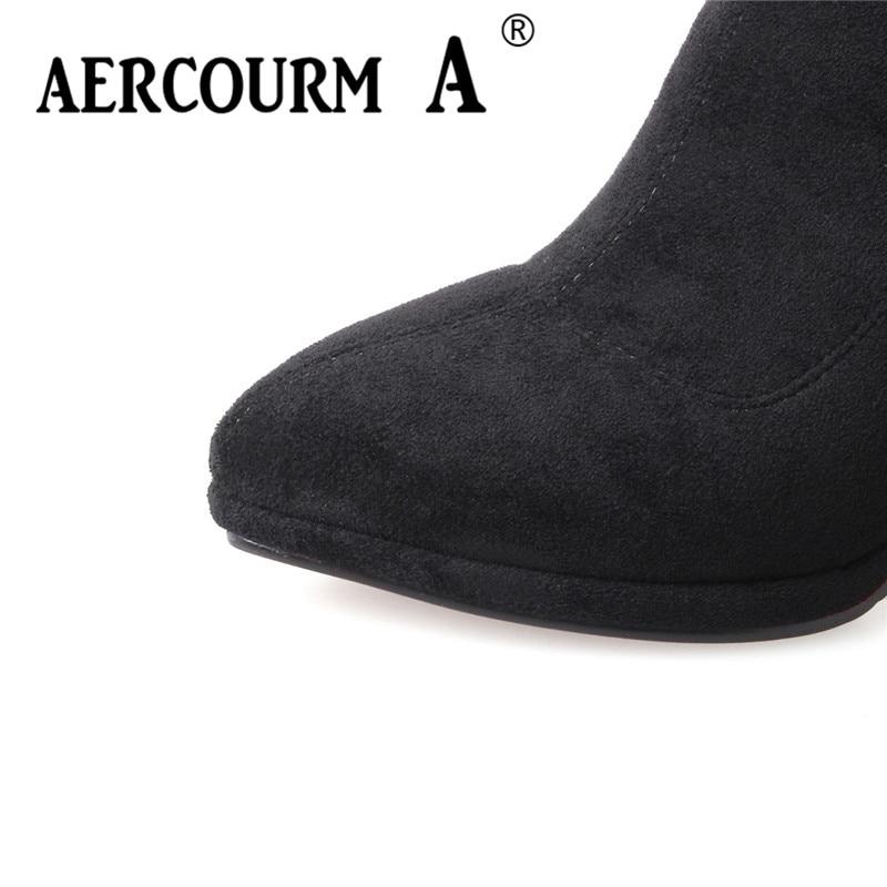 Troupeau En Base Longues De Cuir Laçage Femmes Noir Solide Dame marron Un Over the Chaussures Pointu Aercourm 2018 gris genou Bottes Bout OvpqW7UP