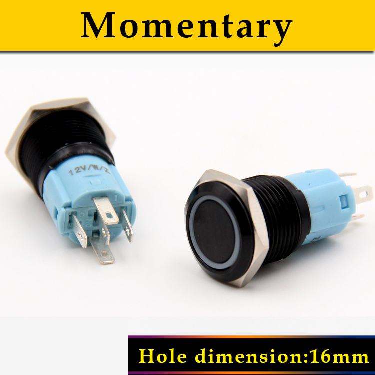 Momentary 6mm LED light oxygen metal push button switch waterproof stainless steel Car Start Horn Speaker Bell ON-OFF bqlzr dc12 24v black push button switch with connector wire s ot on off fog led light for toyota old style