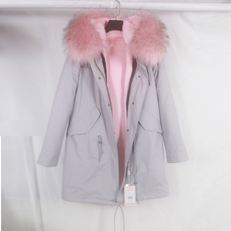 2016 new grey winter jacket coat women parka With light pink large ...