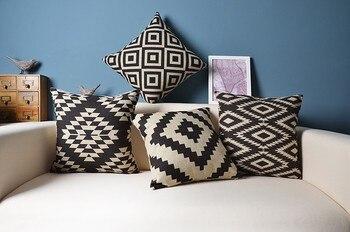Clásico geometría impreso cubiertas de la almohadilla lumbar almohadas funda de almohada/fronha de travesseiros