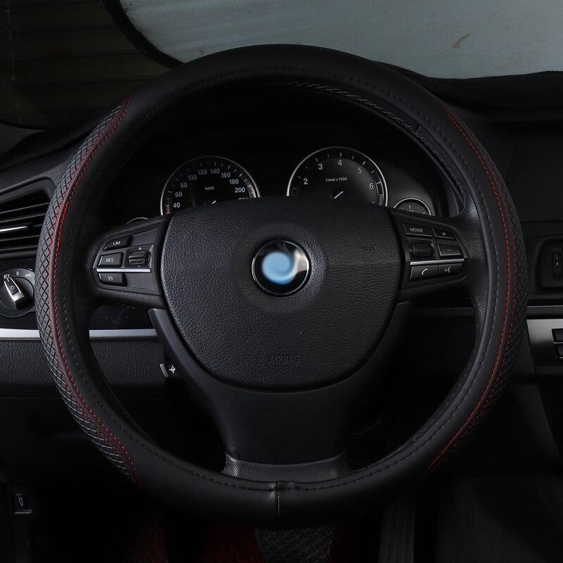 Couverture de volant de voiture non slip véritable accessoires en cuir pour skoda fabia 1 3 KAROQ KODIAQ OCTAVIA 1 2 3 a5 a7 octavia rs