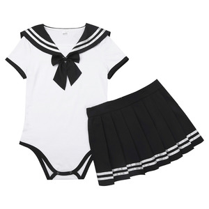 Image 5 - Womens Girls Sweet Short Sleeve Press Crotch Romper with Mini Pleated Zipper Closure Skirt Cosplay Costumes for Halloween Party