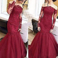 Formal Red Long Sleeve Lace Mermaid Prom Dresses Designer Boat Neck Long Formal Evening Party Gowns Cheap Prom Dress For Sale