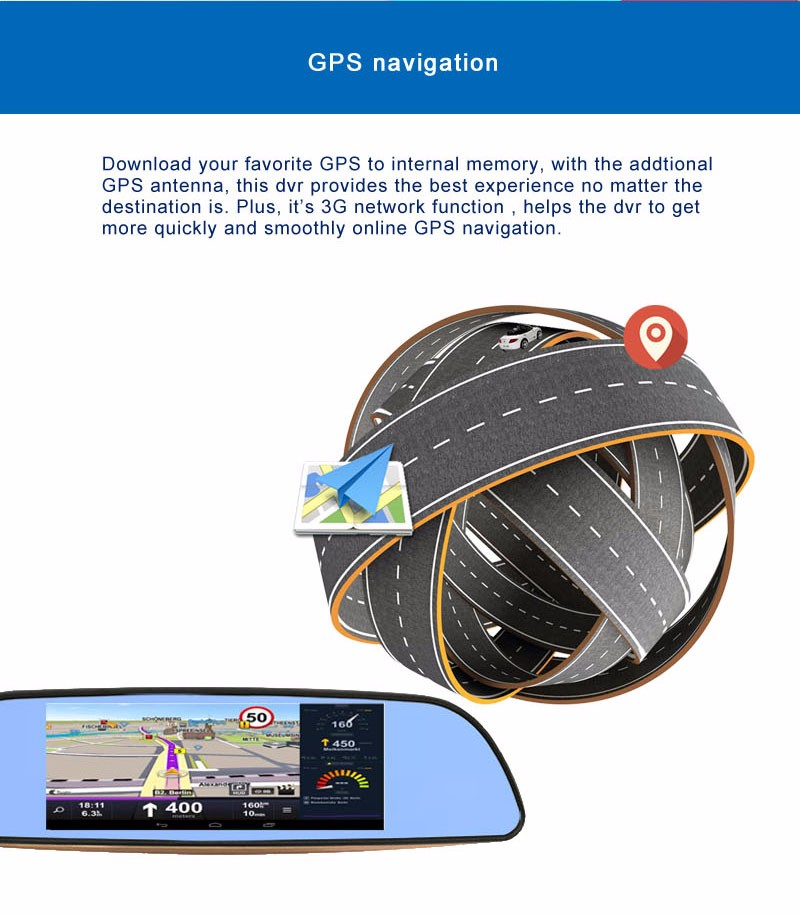 Free 32GB card+3G Car DVR+Android 5.0 Bluetooth GPS WIFI Dual lens rearview mirror camera+FHD1080P camara automovil Phisung H2 10