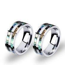 Original design shell inlaid titanium steel mens ring 8mm wide unique jewelry